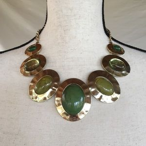 Shades of Green Goldtone Statement Necklace